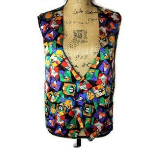 Looney Tunes Vintage Bugs Bunny Tweety Silk Vest